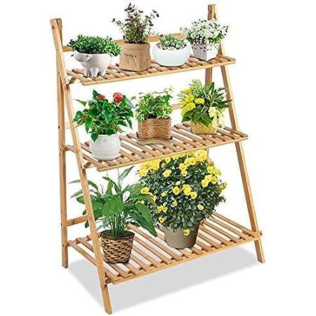 Bamboo 4-Tier//5-Tier Hanging Plant Stand Planter Shelves Flower Pot Organizer Storage Rack Folding Display Shelving Plants Shelf Unit Holder