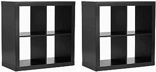 Better Homes and Gardens Bookshelf Square Storage Cabinet 4-Cube Organizer, (2 Set, 4-Cube Organizer, Solid Black)