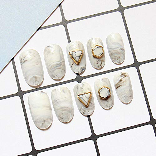 CLOAAE Universe Harajuku marble and golden triangle decoration 3D fake nails cute fake nails solid color ladies full mouth nail