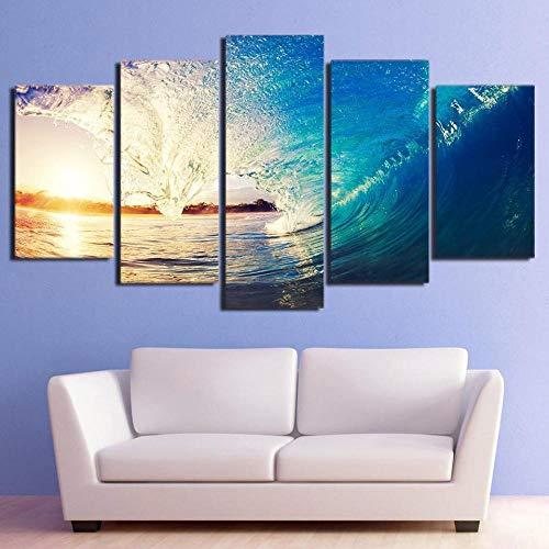 QWASD Enormes Olas del Mar Cuadro En Lienzo 5 Piezas Imagen Impresión,Pintura Decoración 5 Piezas Cuadro Moderno XXL,Murales Pared Oficina Decor