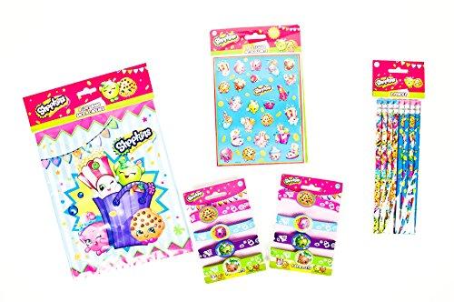 Shopkins Party Supplies Favor Bundle includes Sticker, Bracelet, Lootbag and Pencil