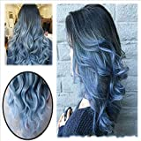 Peluca de pelo largo y suelto Ombre de color negro a azul, peluca sintética ondulada natural sintética fabulosa para mujer disfraz de fiesta de Halloween peluca de negro a azul