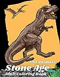 Stone Age 100 Animal: Coloring Book For Adult Museum of Natural History dinosaur, Styracosaurus، yutyrannus، Sebcus، Spinosaurus، smildon