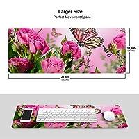 ピンクのバラ 花 蝶 パター マウスパッド キーボードパッド 滑らかマウスパッド ゲーミングパッド 大型 オフィス 家庭用