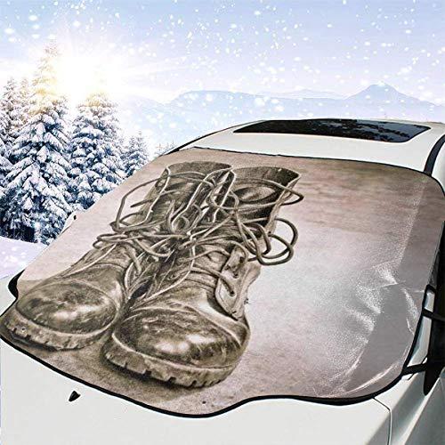 GOSMAO Protector de ParabrisasCool Black Leather Army Boots Military Cubierta de Parabrisas Coche Protege de Rayos Antihielo y Nieve,UV,Lluvia,Funda Plegable Delantero 147 * 118cm