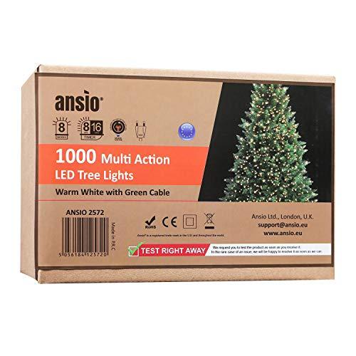 ANSIO Luci natalizie per interni e esterno 1000 LED albero luci Bianco Caldo, 8 modalità con memoria e funzione timer, alimentate, trasformatore incluso 25m Lunghezza illuminata- CAVO VERDE