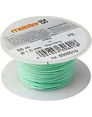 Meister Sznur murarski zielony - długość 50 m - Ø 1,0 mm - polietylen - odporny na węzły - odporny na rozerwanie i wytrzymały - Na szpuli/sznur budowy/sznur lotowy/sznur brukowy / 6306010