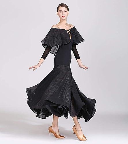 Z&X Robe de Danse Moderne pour Femmes Grandes compétitions de Costumes de Salle de Bal Jupe Pendule Nylon Soie Glace Plis de Soie Brillante