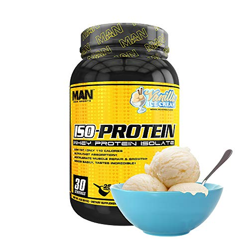 Man Sports Iso Protein. Vanilla Ice Cream Flavored Gluten Free Whey Protein Powder for Muscle Growth and Repair (30 Servings)