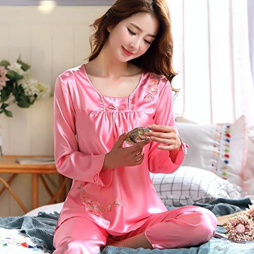 QWKLNRA Conjunto Pijama Seda Mujer,Traje De Pijama De Seda Rosa para Damas, Ropa De Hogar De Manga Larga, Ropa Casual/Adecuado para Primavera, Verano, Otoño/Se Puede Usar como Regalo De Cumpleaños