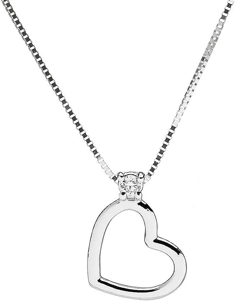 Anelie gioielli girocollo donna in oro bianco 18k(1,6 gr) con ciondolo e diamante 0,02 ct NEXT-FA227C