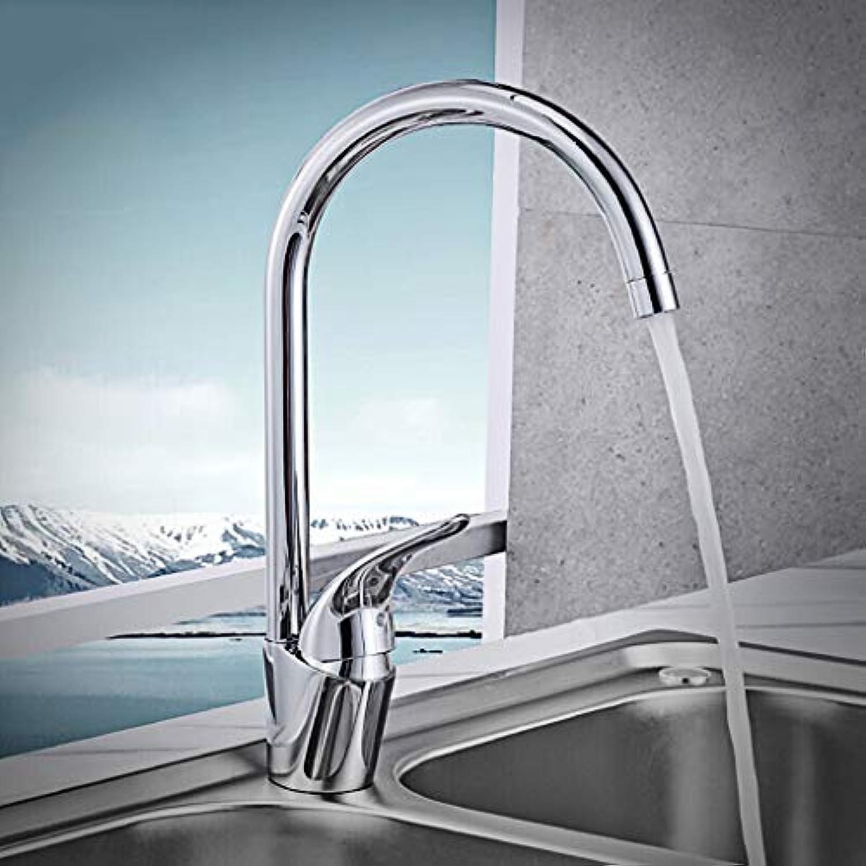 WB_L Küchenarmatur Wasserhahn Nickel gebürstet Edelstahl Mit Massivem Messing Moderne Kommerziellen Einhand-Einlochmontage-Küchenarmatur, Swivel-Mischbatterie (Farbe   3344-504)