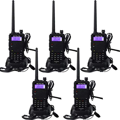 Retevis RT5 Walkie Talkie Profesional Doble Banda 128 Canales Función VOX Escanear Radio FM Linterna Incorporada Pinganillo Monitor Radio Bidireccional con Auriculares(Negro,5 Pacs)