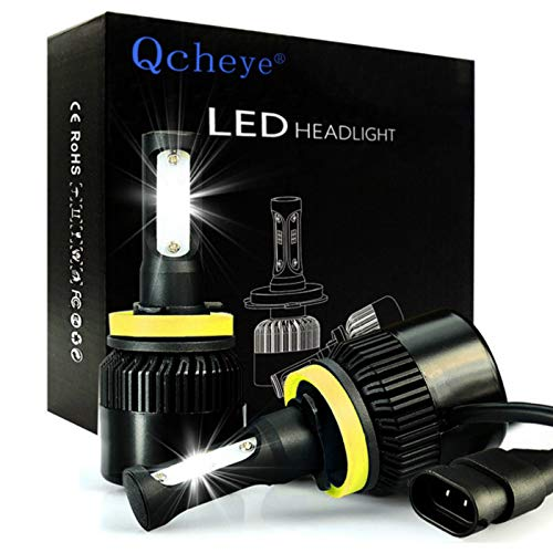 LED Headlight Bulbs All-in-One Conversion Kit - H11 (H8, H9) 2Pcs 8000Lm 6000K Cool White with Super Bright