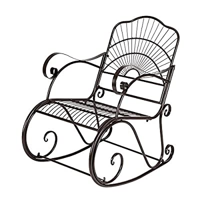RTWAY Outdoor Rocking Chair, Wrought Iron Metal Patio Rocking Chair, Retro Bistro Leisure Chair Porch Seat for Patio, Porch, Garden and Deck
