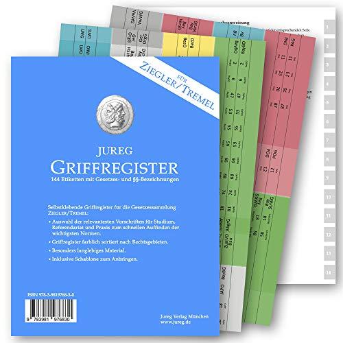 Griffregister für ZIEGLER TREMEL | selbstklebende Register mit Gesetzes- und §§-Bezeichnungen | 2020