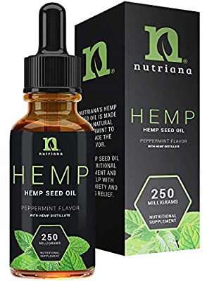 Best Hemp Oil for Sleep Aid – Natural Hemp Seed Oil Extract Drops for Sleep Support and Anxiety | Sleep Aid for Adults 250 mg of Hemp Oils by Nutriana