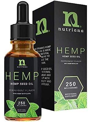 Best Hemp Oil for Sleep Aid – Natural Hemp Seed Oil Extract Drops for Sleep Support and Anxiety | Sleep Aid for Adults 250 mg of Hemp Oils by Nutriana