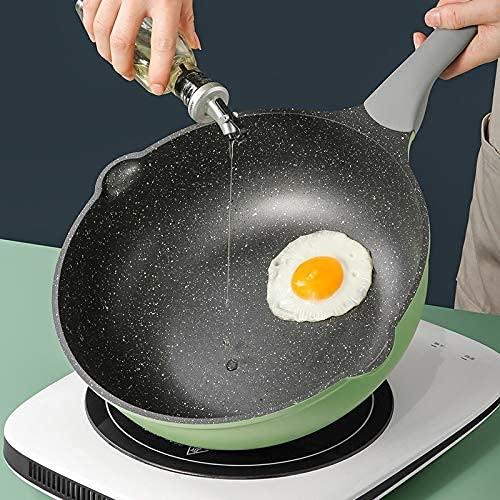 sartén de cocina wok, PREMIUM No-Stick Wok Series Green Series Wok con tapa, 30/32 cm, mango resistente al calor, tipo de inducción, material respetuoso con el medio ambiente (Size : 32cm)