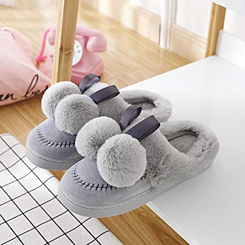 ypyrhh Pantuflas de espuma viscoelástica para mujer, zapatillas de felpa de interior, zapatos de confinamiento de plataforma antideslizante-gris 2_40-41, suela antideslizante de espuma viscoelástica