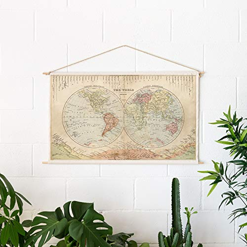 Miss Wood Woody Cotton Map-Rivers & Mountains, Algodon, Beige, Talla única