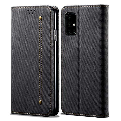 Eabhulie Funda Galaxy A51, Carcasa de Cuero PU Retro Mezclilla Cartera Tapa con Soporte Plegable para Samsung Galaxy A51 Negro