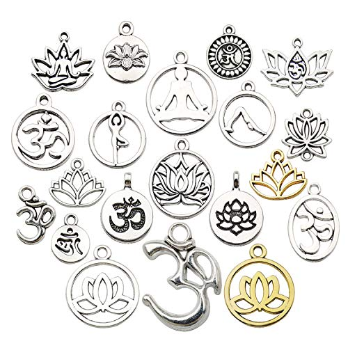 WOCRAFT 100g(80pcs) Craft Supplies Antique Silver Yoga OM Lotus Flower Charms for Jewelry Making Crafting Findings Accessory for DIY Necklace Bracelet (M294)