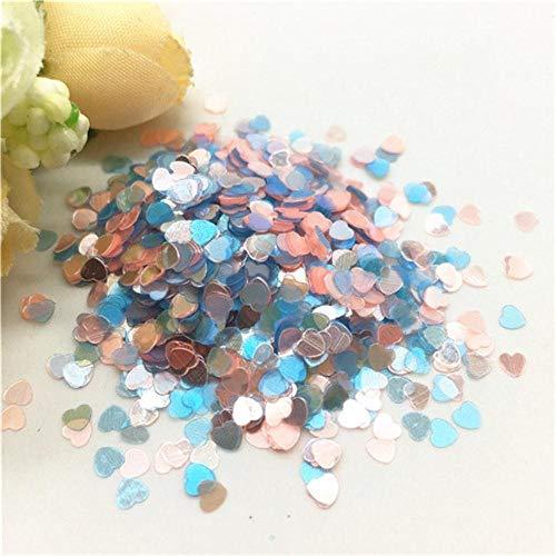 Mix kleur ster hart pailletten 3mm ultra dunne glitter PVC losse pailletten voor nagel manicure bruiloft decor confetti 10 / 20g, hart roze blauw, 3mm 10g