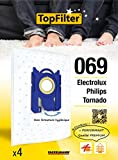 4 sacs aspirateur pour Electrolux, Philips et Tornado, boîte de sacs d'aspiration, lot de sacs à poussière