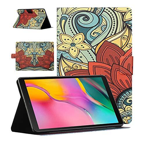 CaseFun Bonita funda para Samsung Galaxy Tab A 10.1 2019 SM-T510 / T515 Folio cierre magnético Slim Cover antideslizante con soporte para tarjetas (flor roja)