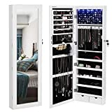 SONGMICS 6 LEDs Cabinet Lockable 47.3' H Wall/Door Mounted Jewelry Armoire Organizer with Mirror, 2 Drawers, Pure White UJJC93W
