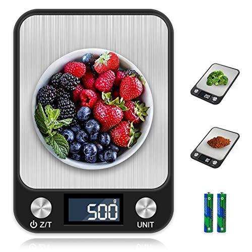 otumixx Báscula de Cocina Digital,10kg/1g, Balanza Cocina Alta Precisión Balanza de Alimentos de Acero Inoxidable con Pantalla LCD y 7 Unidades, Función de Tara (Baterías Incluidas)