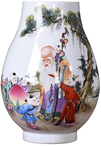DQQQ Chinesische Keramik Bodenvase Schönheit Langlebigkeit Illustration Malerei Blumenvase Kunst Home Chinesisches Porzellan Retro Dekoration Geschenk Weiß-Weiß