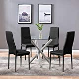 4HOMART YVONNE&F.L.A.M. Dining Table with Chairs, Round Glass Table Set Modern...