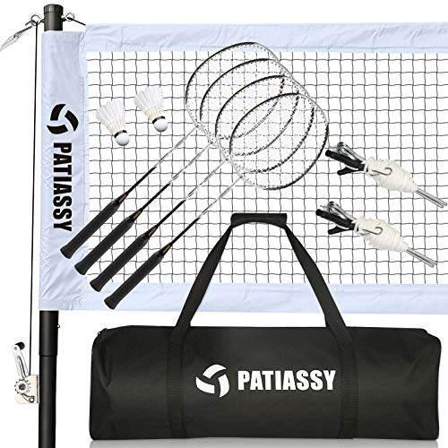 Patiassy Professional Badminton Set with 4 Carbon Fiber Rackets and 2 Goose Feather Shuttlecocks Portable Badminton Net with Winch System and Carrying Bag