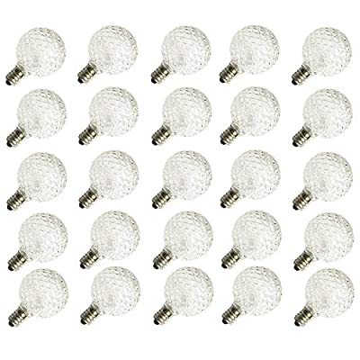 G40 Replacement Bulbs LED for Globe Patio String Lights, 25 Pack,1.56-inch,Crystal Ball Style, 0.5 Watt,Fits C7/E12 Candelabra Screw Base,Indoor/Outdoor Use,Warm White