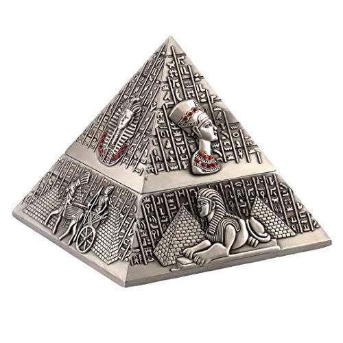Kepfire Vendimia Clásico con Tapa Cigarro Cenicero Europeo Hogar Hotel Oficina Café Mesa Decoración Antiguo Egipto Escultura Pirámide Adorno - Antiguo Estaño Color
