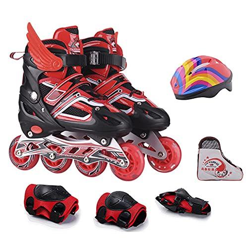 Patines en línea ajustables para niños,patines con ruedas luminosas,equipo de patinaje en línea de rendimiento al aire libre e interior con cinturón de seguridad con protección de seguridad(rojo, M)