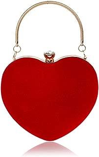 Redland Art Women's Fashion Love Heart PU Leather Clutch Bag Wristlet Shoulder Crossbody Evening Handbag Catching Purse Bag for Wedding Party (Color : Red)
