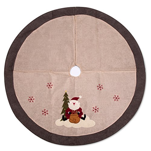 iPEGTOP 48 inches Burlap Rustic Christmas Tree Skirt - Classic Holiday Decorations Woodland Santa Snawflake Embroidery - Begie Brown Rim