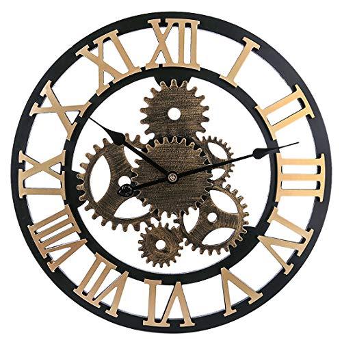 Winni43Julian 58cm Orologio da Parete Grande Vintage - Ingranaggio Orologio da Muro Silenzioso Moderno Grande in Legno per La Decorazione di Grandi Dpazi (Golden 1)