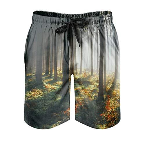 Dessionop Pantalones cortos de playa para hombre, diseño de fantasía, rayos de sol, mañana, bosque, con forro de bolsillo, verano, blanco, XL