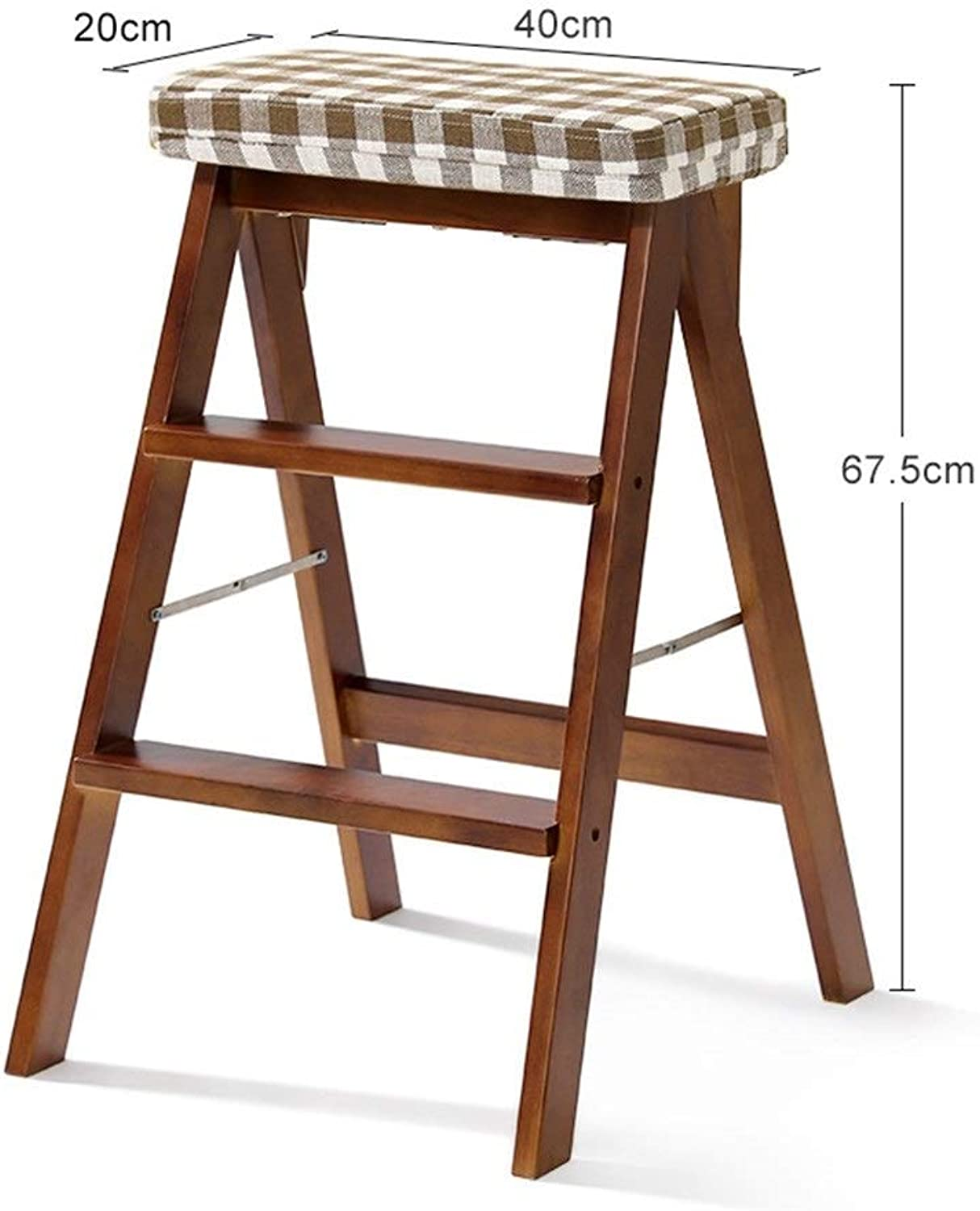 GLJJQMY Solid Wood Folding Stool Home Step Stool Portable Folding Stool Multi-Function Kitchen High Stool Wooden Bench (color   D)
