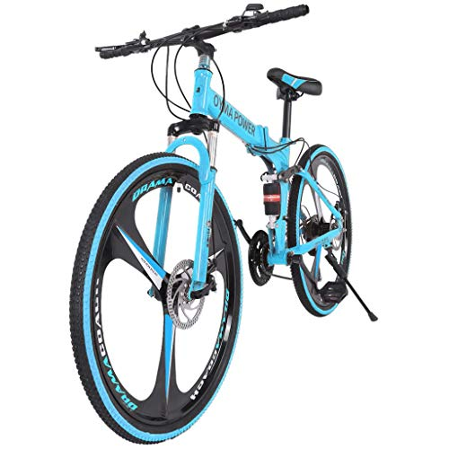 Dayyet 26in Mens Womens Folding Mountain Bike Shimanos 21 Speed Bicycle Full Suspension MTB Bikes,3 Spoke Magnesium Wheels,Full Suspensio (Blue, 59x9.8X(23-27.5) in)
