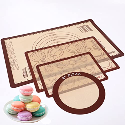 PUDOI Silicone Mat Silicone Baking Mats Kit with Measurements Oven Liner Non-Slip Non-Stick Duty Reusable Oven Food Safe Baking Sheet Baking Tools Accessory Pizza Macaron Silicone Baking Mats(4 pcs)
