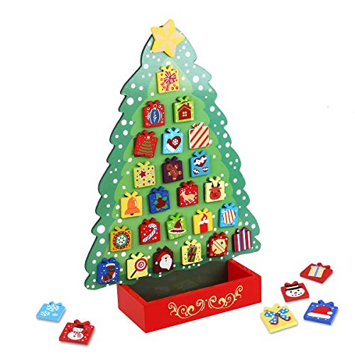 Unomor Wooden Christmas Advent Calendar for Kids, Countdown to Christmas Favors, Christmas Tree Design with Star Tree Topper with 31 Magnets