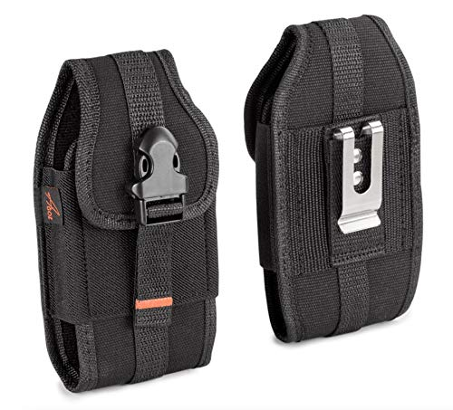 Agoz Carrying Case for Kyocera DuraForce Ultra 5G UW, Kyocera DuraForce XD E6790, Heavy-Duty Rugged Canvas Vertical Holster Pouch Cover with Metal Clip, Belt Loops, Card Slot & Front Buckle