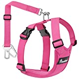Pawaboo Cinturón de Arnés de Chaleco de Seguridad para Perros, Mascotas Arnés Ajustable para Automóvil con Hebilla, Seguridad de Conducción de Perros y Gatos Medianos, M - Rosa Roja