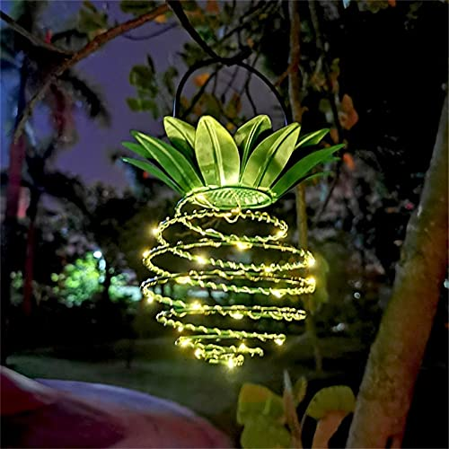 Linterna Solar de piña, Luces solares para Exteriores, Luces solares Colgantes, Luces de piña Decorativas para Exteriores de jardín con energía Solar para el Camino del Porche del Patio.
