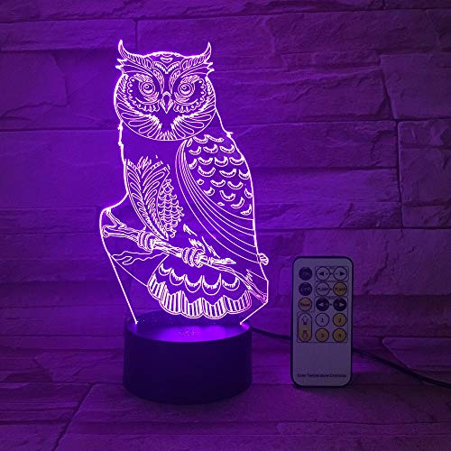 Mddjj Remote Or Touch Owl 3D Night Light Rgb Changeable Mood Led Light Dc 5V Usb Decorative Table Lamp Get A Remote Controller Schlafzimmerdekoration